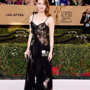 Emma Stone awarded for La La Land! Thank you Alexander McQueen! ・・・ #repost IN DETAIL: the lily-pad embroidered dress worn by #EmmaStone to the #SagAwards features waterlily threadwork embroidery and an iris lace bodice embellished with black jet. #SeenInMcQueen #AlexanderMcQueen #sophiehallette #leaverslace #lace #lalaland #actress #SagAwards #awards #ceremony