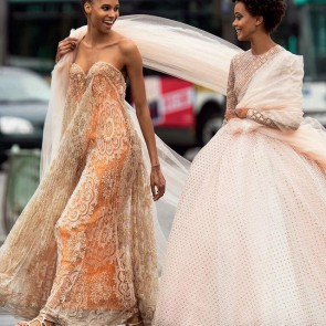 Giambattista Valli net lace and Sophie Hallette tulle in the streets of Paris for Vogue Arabia March issue  #sophiehallette #tulle #bobbinettulle #voguearabia #march #issue #cindybruna #samilebermannelli #paris #photoshoot #couture
