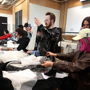 We were in London last week for a workshop with the super creative Central Saint Martins menswear students.  #sophiehallette #sophiehalletteaward #saintmartins #csm #menswear #workshop #dentelledecalaiscaudry #london #fashion #design #student #talent #dentelledecalais #leaverslace #textile #experiment #thankyou