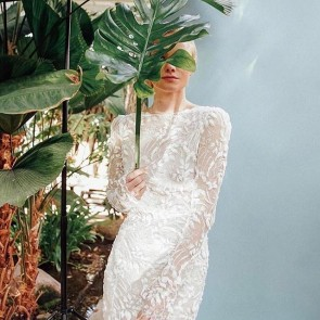 Seen in Vogue Germany! Sophie Hallette embroidered lace for @lanamuellerofficial bridal collection.