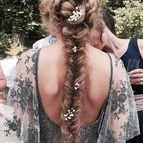 Sophie Hallette lace and flowers in the hair, summer's almost there!  #sophiehallette #leaverslace #lace #madeinfrance #bibibachtadze #embroidery #embroideredlace #braid #braidedhair #summer #flower #bride #dress #bohemian #bohemianbride