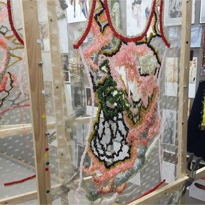 Congrats to @nihl.nyc for his amazing embroidery on lace, showcased at Parsons Fashion Graduate exhibition! @parsonsfashionmfa  #sophiehallette #leaverlace #lace #parsons #parsonsfashionmfa #exhibition #embroidery #neilgrotzinger #talents #students #fashionschool