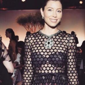 Jessica Biel in Giambattista Valli #craft #metierdart #frenchlace #madeinfrance #dentelledecalaiscaudry