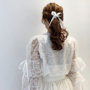 French girl ponytail vibe by @cholyncom wearing one of our geometric embroidered tulle 🌸💕 . . .  #tulle #embroidery #embroideredtulle #France #Caudry #madeinfrance #sophiehallette #couture #custom #repost #potd