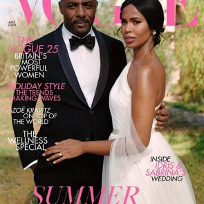 Idris and Sabrina Elba on the cover of a special @britishvogue Spring Issue. The bride is wearing an @armani wedding gown with our beautiful Silk tulle 👰✨ .  #tulle #tulledesoie #silk #sophiehallette #weddingdress #wedding #bride #bridal #robedemaroee #Armani #IdrisElba #madeinfrance #potd #vogue #cover #voguecover #britishvogue #giorgioarmani