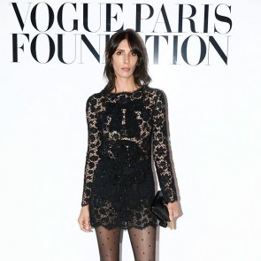 Jamie Bochert wearing our lace embroidered and embellished by @ysl 🖤 .  #dentelle #dentelledecaudry #dentelledecalais #dentellefrancaise #frenchlace #madeinfrance #sophiehallette #saintlaurent #ysl #vogue #vogueparis #fashionweek #FW20 #potd